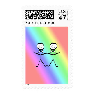 Rainbow Gay Wedding Stamp