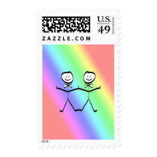 Rainbow Gay Wedding Stamp