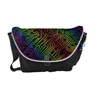 Rainbow Geek Circuit Board Pattern Messenger Bag