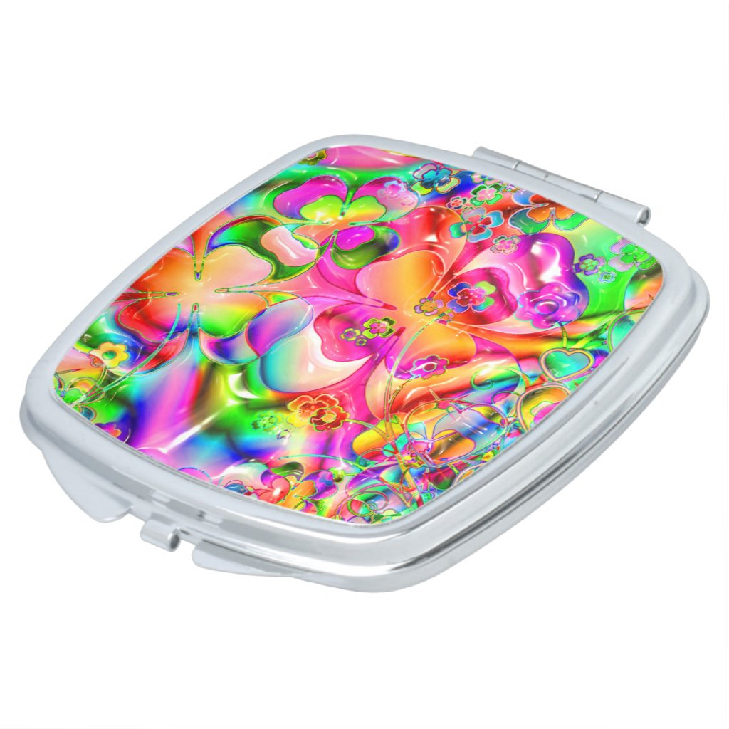 Rainbow Gells and Hearts Compact Mirror