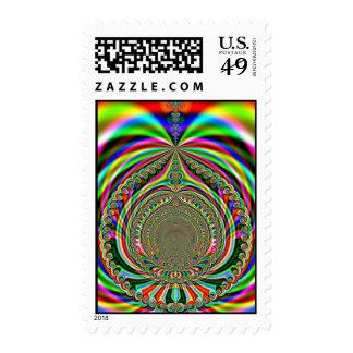 Rainbow Genies Lamp Fractal Postage Stamp