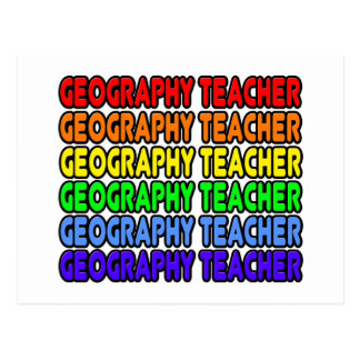 Rainbow Geography Teacher Postcard