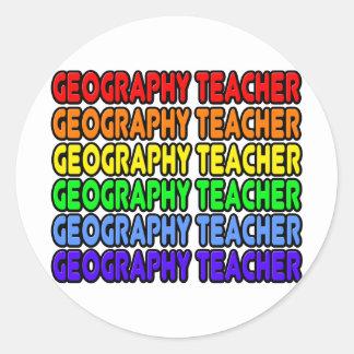 Rainbow Geography Teacher Round Sticker