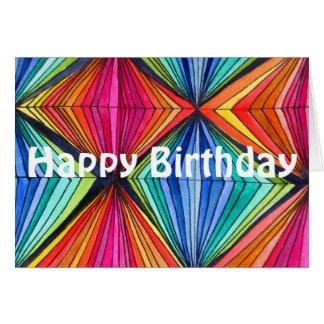 Rainbow Geometric Op Art Happy Birthday Card