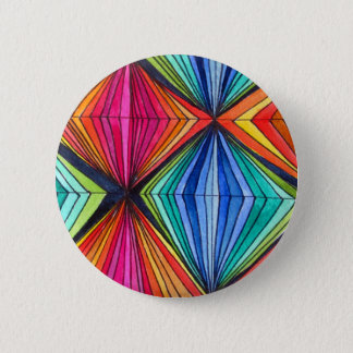Rainbow Geometric Optical Art Pinback Button