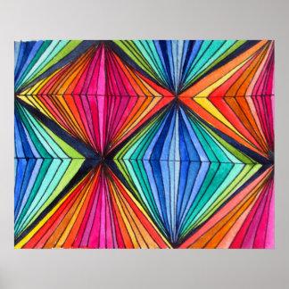 Rainbow Geometric Optical  Art poster