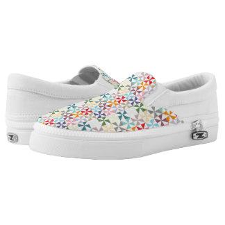 Rainbow Geometric Pinwheel Pattern Slip-On Sneakers