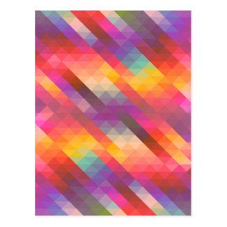 Rainbow Geometric Tetris Squares - Modern Pattern Postcard