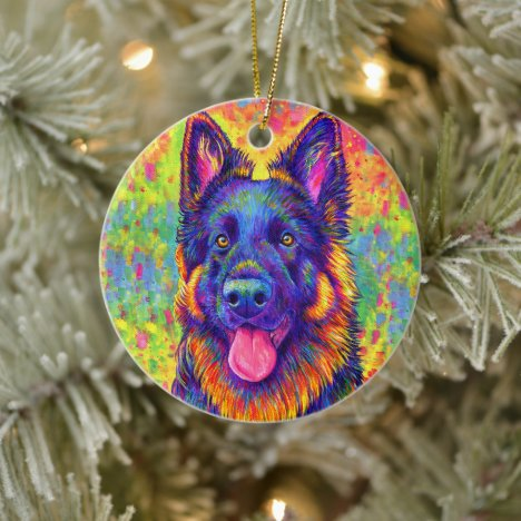 Rainbow German Shepherd Ceramic Ornament