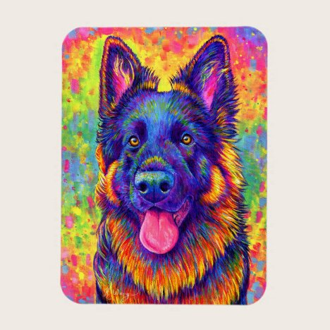 Rainbow German Shepherd Dog Flexible Magnet