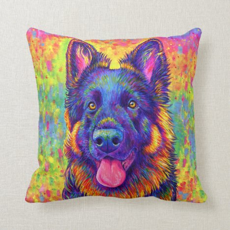 Rainbow German Shepherd Dog Throw Pillow