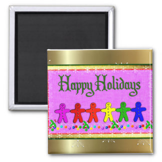 Rainbow Gingerbread 2 Inch Square Magnet