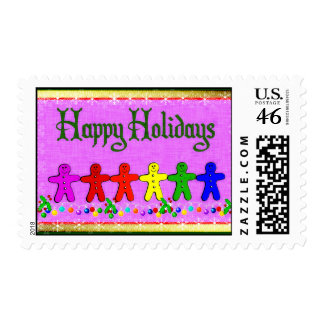 Rainbow Gingerbread Postage Stamp