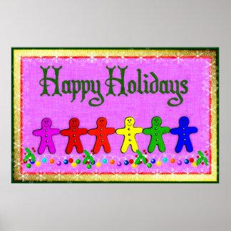 Rainbow Gingerbread Print