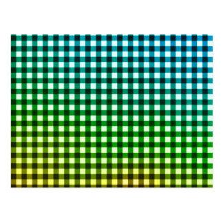Rainbow gingham pattern postcard