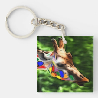 Rainbow Giraffe Acrylic Key Chains