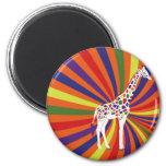 Rainbow Giraffe Art 2 Inch Round Magnet
