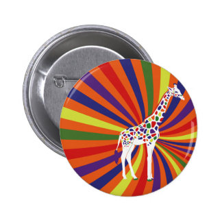 Rainbow Giraffe Art Pinback Button