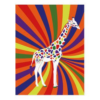 Rainbow Giraffe Art Post Card