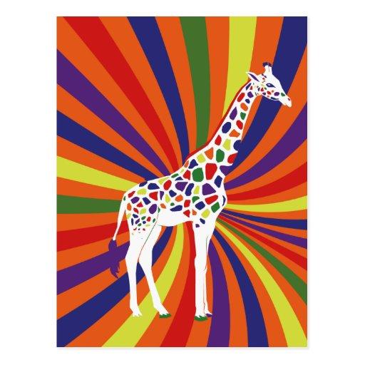 Rainbow Giraffe Art Postcard