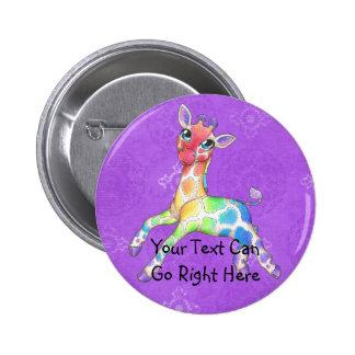 Rainbow Giraffe Button