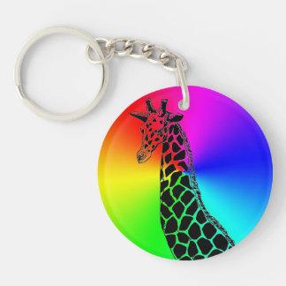 Rainbow Giraffe II Keychain