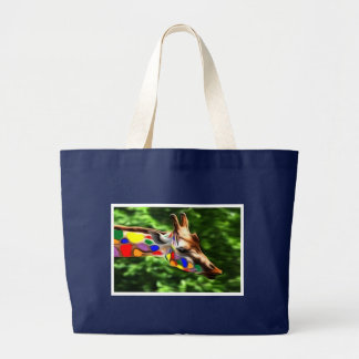 Rainbow Giraffe Large Tote Bag