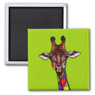 Rainbow Giraffe 2 Inch Square Magnet