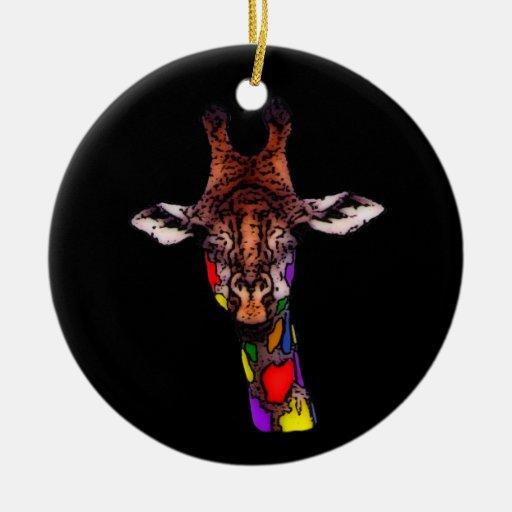 Rainbow Giraffe Ornament Christmas Ornament