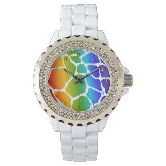 Rainbow Giraffe Pattern Watch