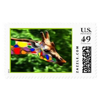 Rainbow Giraffe Postage Stamp