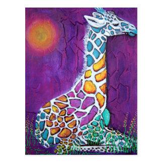 Rainbow Giraffe Postcard