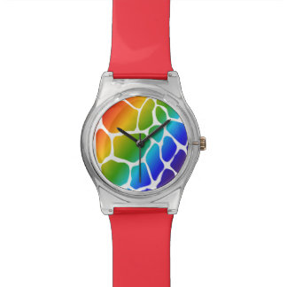 Rainbow Giraffe Print Pattern Wristwatch