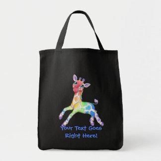 Rainbow Giraffe Tote Bag