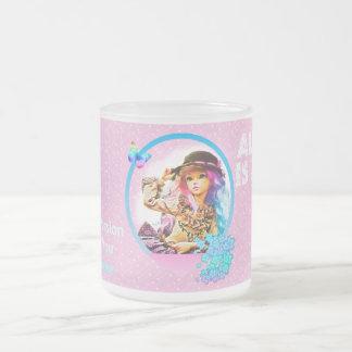 Rainbow Girl Frosted Glass Coffee Mug