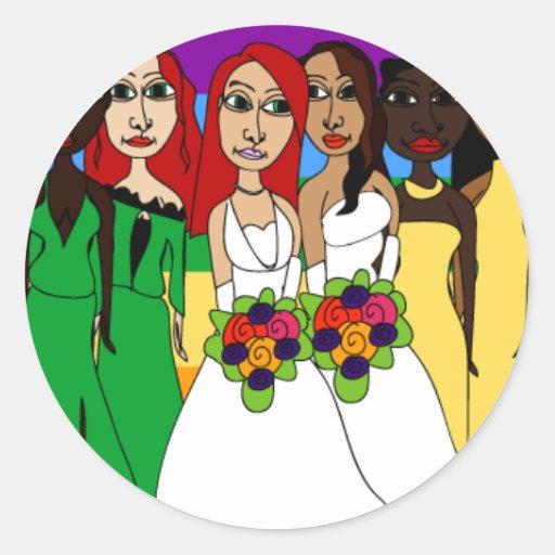 Rainbow Girls Round Stickers