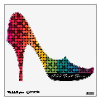 Rainbow Glam Custom Text Stiletto Wall Cling Wall Skin