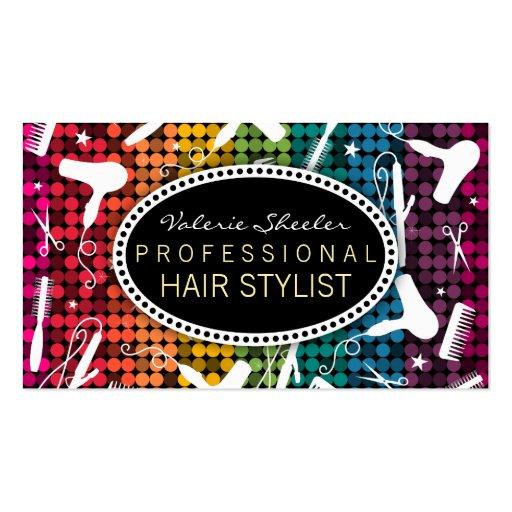 Rainbow Glam Hair Salon Custom Business Cards