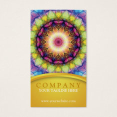 Rainbow Glass Mandala Business Card at Zazzle