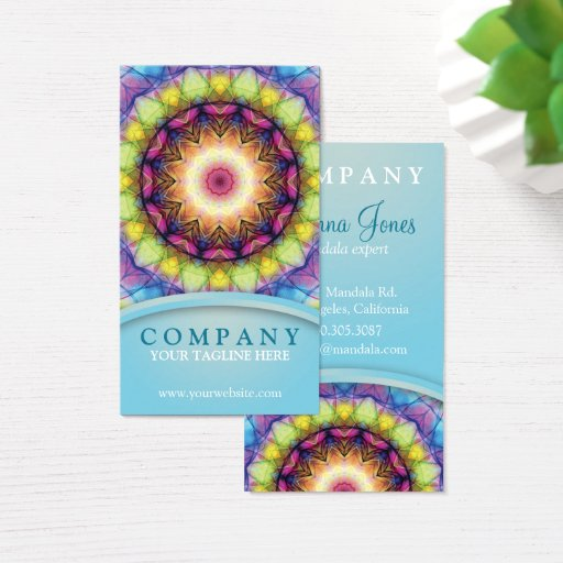 Rainbow Glass Mandala Business Card