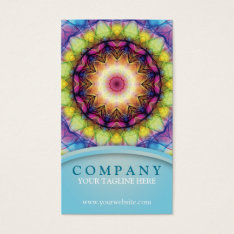 Rainbow Glass Mandala Business Card at Zazzle