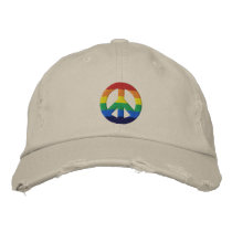 Rainbow GLBT Peace Sign Hat