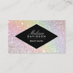 Rainbow Glitter and Glamour Beauty Business Card