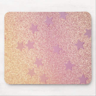 Rainbow Glitter and Stars Mouse Pad
