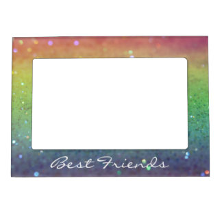 Rainbow Glitter Best Friends Magnetic Photo Frame