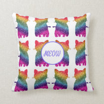 Rainbow Glitter Cat Fashion Throw Pillow