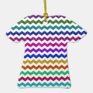 Rainbow glitter chevrons Double-Sided T-Shirt ceramic christmas ornament
