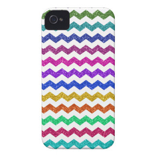 Rainbow glitter chevrons pattern Case-Mate iPhone 4 case