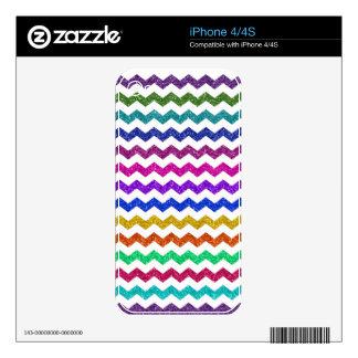 Rainbow glitter chevrons pattern iPhone 4 decals
