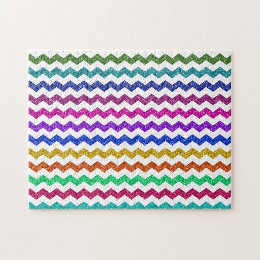 Rainbow glitter chevrons jigsaw puzzles